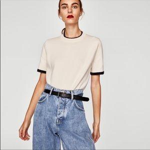 ZARA NWOT Ecru cream short sleeve sweater